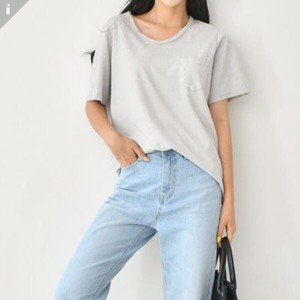 Plain Balance Short Sleeve U-neck Top T-shirt