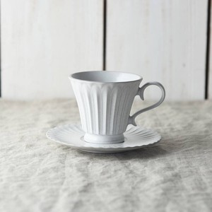 Scrunchy Lace Coffee Cup Saucer Stick White MINO Ware
