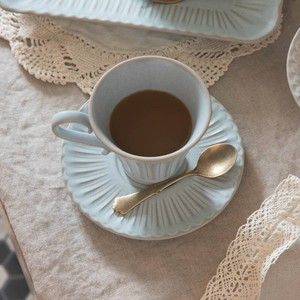 Scrunchy Lace Coffee Cup Saucer Blue MINO Ware