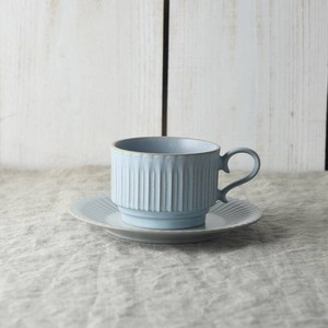 Scrunchy Lace Stack Coffee Cup Saucer Blue MINO Ware