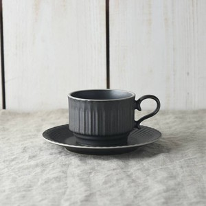 Scrunchy Lace Stack Coffee Cup Saucer Crystal Black MINO Ware
