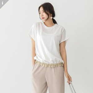 Plain Tape Short Sleeve Top T-shirt