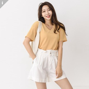 Linen V-neck Short Sleeve Top T-shirt