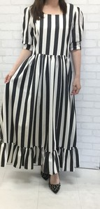 Stripe Square Beautiful Long One Piece