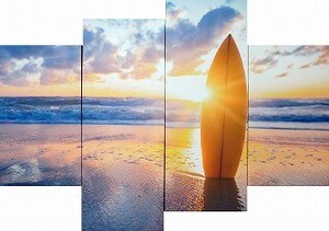 キャンバスアート Bello Canvas Art Surfboard on the beach at sunset (4枚セット)