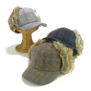 Fur Flap Checkered Cap Young Hats & Cap