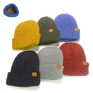 Wool Switching Patch Double Knitted Watch Cap Young Hats & Cap