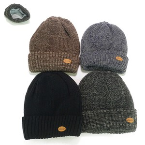 Circle Patch Double Knitted Watch Cap Young Hats & Cap