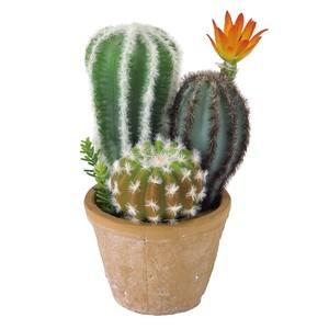 【8月下旬入荷予定】フェイクグリーン 花サボテン寄せ植え ラウンドポット Sサイズ