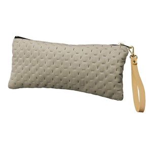 Velour Flat Pouch Strap Attached Light Grey