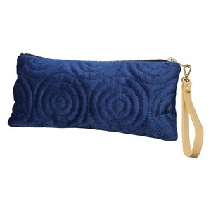 Velour Flat Pouch Strap Attached Spiral Navy Blue