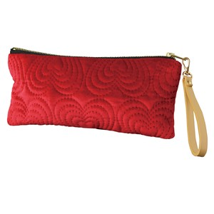Velour Flat Pouch Strap Attached Heart Red