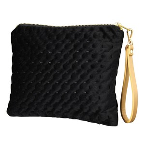 Velour Flat Pouch Strap Attached Black