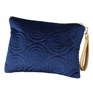 Flat Pouch Strap Attached Spiral Navy Blue