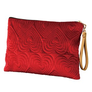 Flat Pouch Strap Attached Heart Red