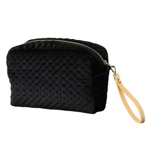 Velour Square Pouch Strap Attached Black
