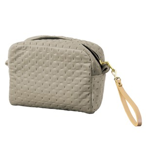 Velour Square Pouch Strap Attached Light Grey