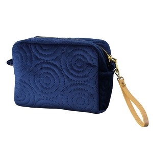 Velour Square Pouch Strap Attached Spiral Navy Blue