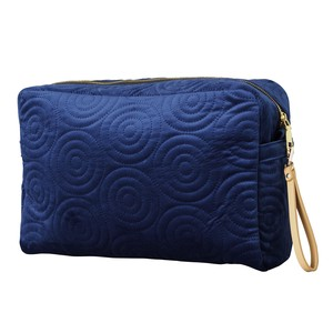 Square Pouch Strap Attached Spiral Navy Blue