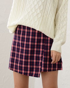 Appreciation Checkered Short Skirt Short Line Checkered Wrap Skirt