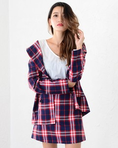 Appreciation Checkered Jacket Skirt Suit Set Checkered Suit Set