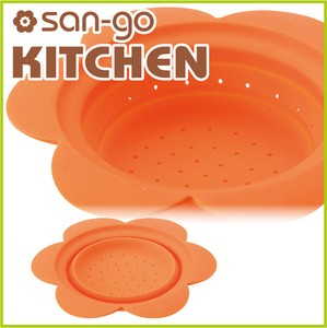 Silicone Colander Flower Orange Kitchen