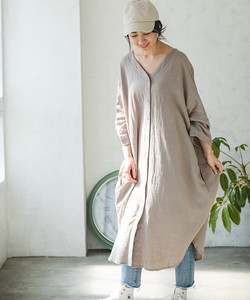 Single Gauze Shirt One-piece Dress