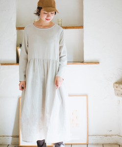 [2019NewItem] Double Gauze Relax Long Sleeve One-piece Dress
