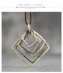 Antique Gold Square Frame Long Necklace