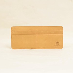Cow Leather Inner Card Case Horizontal 8 Pcs Card Long Wallet Men's Ladies Camel