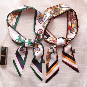 Unisex Fantasy Horse-Drawn Carriage Reversible Long Scarf Ribbon 2 Colors