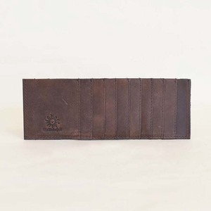 Cow Leather Inner Card Case 10 Pcs Card Long Wallet Men's Ladies Brown