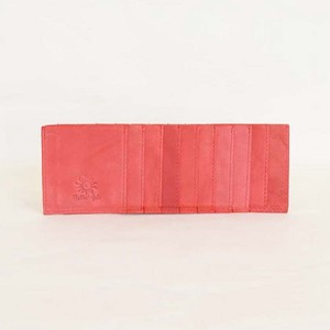 Cow Leather Inner Card Case Red 10 Pcs Card Long Wallet Men's Ladies Red
