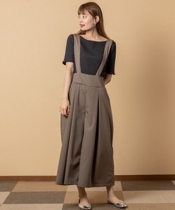 Twill Suspender wide pants