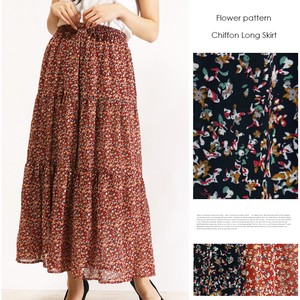 Lining Attached Retro Flower Long Skirt Floret Pattern Floral Pattern Chiffon