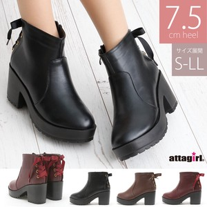 """2020 New Item"" Heel Bag Ribbon Short Boots"