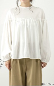 A/W Material Switching Gather Blouse
