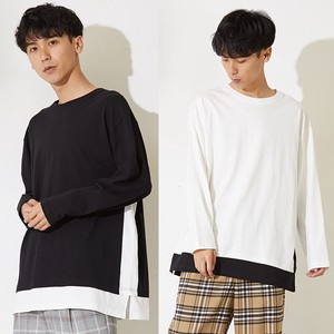 [2019NewItem] Big Silhouette Men's Long Sleeve Over T-shirt Long Cut And Sewn
