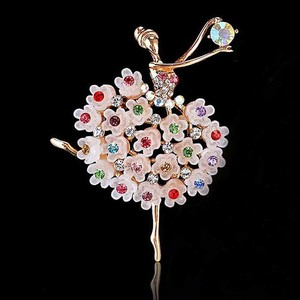Ballerina Color Rhinestone Design Brooch