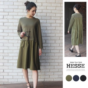 [2019NewItem] Back 4 Steps Shearing Point Switch Long Sleeve One-piece Dress