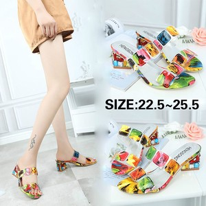 Ladies Sandal Shoes Open Toe Thick Heel Slip Candy