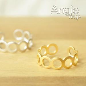 【Angie】マットカラーメッキ 10サークルC型 リング!2色展開。シンプル&フェミニン!**