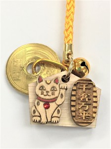 Call Come True Japanese Cypress Ema Beckoning cat Cell Phone Charm