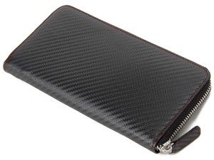 Carbon Round Fastener Long Wallet