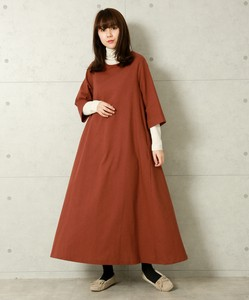 Bag Twist Cotton Linen Three-Quarter Length One-piece Dress