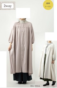 A/W Drop Shoulder Gather One-piece Dress