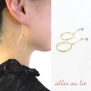 """【2019新作】【aller au lit】""""Flowing line""""ゴールドワイヤーピアス-オープンモチーフ・A-"""