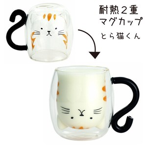 Glass 1Pc Heat-Resistant Double Mug Tabby