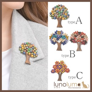 Wood Brooch Ladies Flower Flower Colorful Multi-Color Natural Material