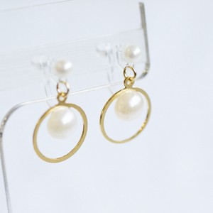 Pearl Circle Falling Resin Hall Earring